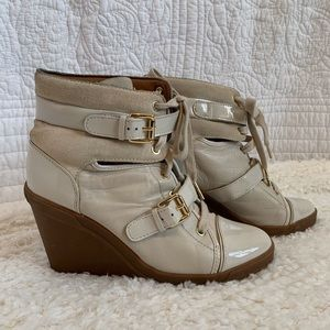 Michael Kors skid wedge high top cream sneaker